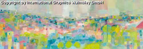נוףציור פרחים  אבסטרקט טבע פסטורלי ירוק כחול