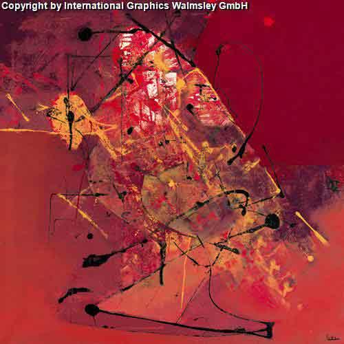 אדום אדוםגוונים אדומים מריחת צבע ציור מופשט