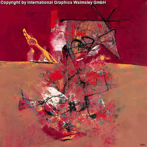 אדום אדום 2גוונים אדומים מריחת צבע ציור מופשט