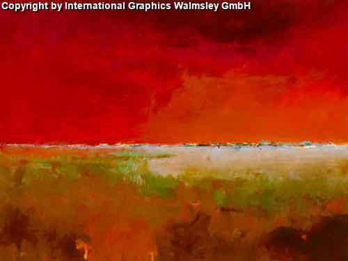 ציור פרחים אדום כתום אבסטרקט עננים