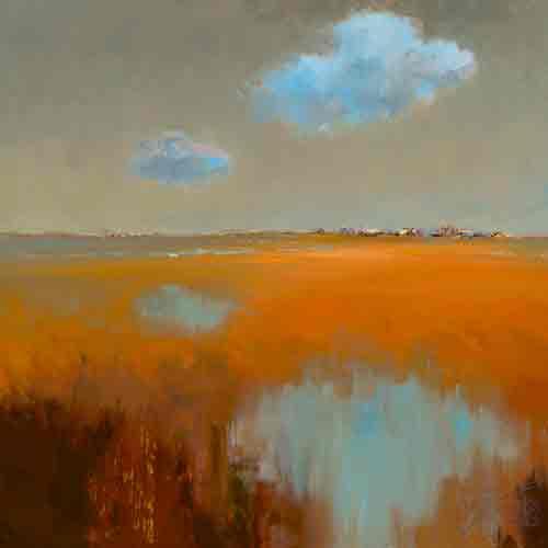 השתקפות עננים אבסטרקט שמים ורוד שדה כתום תכלת כחול נחל נהר