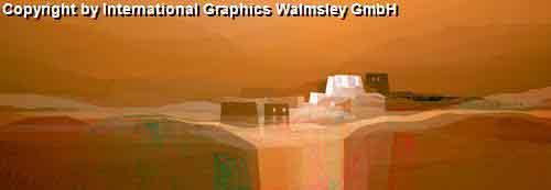 פנורמהחום חם כתום נוף אופק בתים מזרחי ציור אבסטרקט עיצוב
