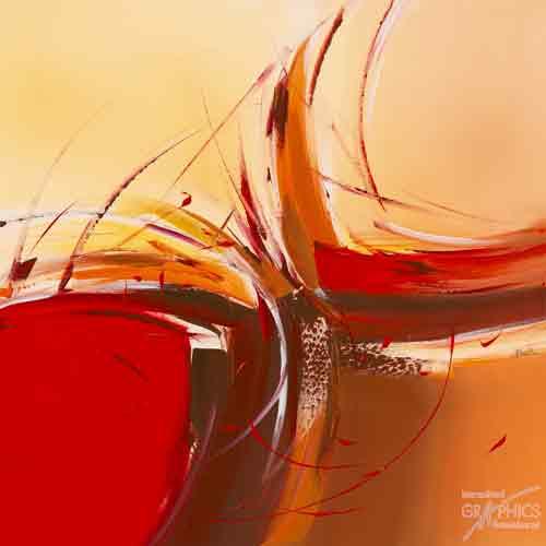 התלהבותאבסטרקט כתמם כתום לבן אדום ריבוע כתמים משיחות מכחול פרפר