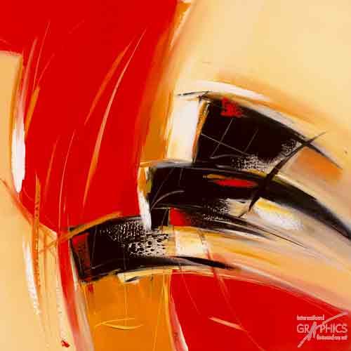 אבסטרקט אדום צהוב שחור כתמים משיחות מכחול בלוק צבע