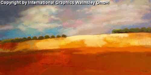 נוף אשחום חם כתום נוף אופק בתים מזרחי ציור אבסטרקט עיצוב