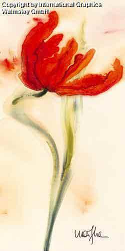 טוליפ 1פרח אדום אבסטרקט דומם קישוט עיצוב פינת אוכל אוירה