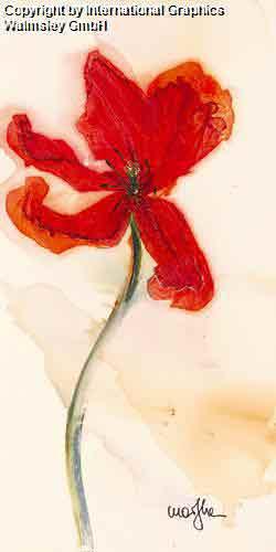 טוליפ 3 פרח אדום אבסטרקט דומם קישוט עיצוב פינת אוכל אוירה