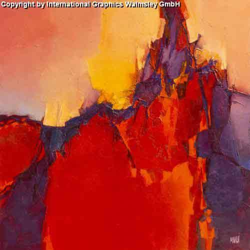 אדום מתפרץגוונים אדומים מריחת צבע ציור מופשט חם נועז