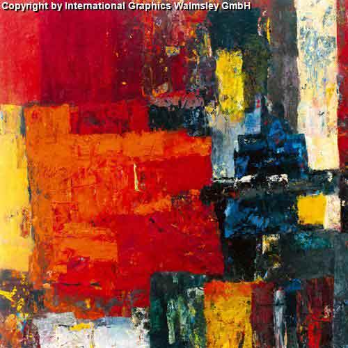 משחקי צבעגוונים אדומים מריחת צבע ציור מופשט חם נועז