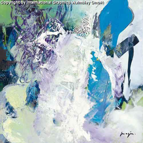 מנגינה 1גוונים כחול לבן מריחת צבע ציור מופשט מתפרץ נועז מעיין