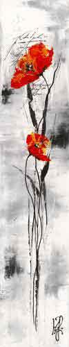 גבעול ופרח 2אדום שחור לבן גבעול פרח ארוך עיצוב פינת אוכל סלון חדר שינה