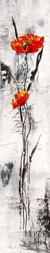 גבעול ופרח 3אדום שחור לבן גבעול פרח ארוך עיצוב פינת אוכל סלון חדר שינה