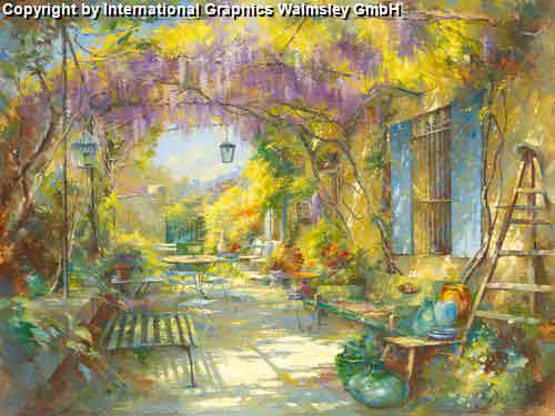 גינתו של הציירירוק נוף גינה גן מרפסת בתים מזרחי ציור אבסטרקט עיצוב