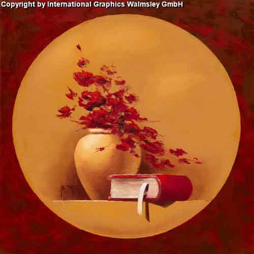 אגרטל אורינטלי וספרעיצוב דקורטיבי  פינת אוכל  אורינטלי מזרח רחוק אדום כתום עיגול ציור