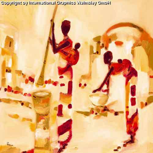 ציור מזרחי אורינטלי צבעים חמים דמויות אבסטרקט נשים משפחה