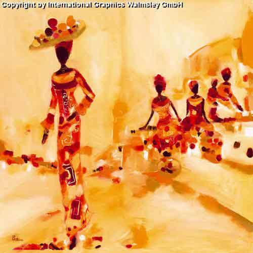 אותנתיותציור מזרחי אורינטלי צבעים חמים דמויות אבסטרקט נשים משפחה