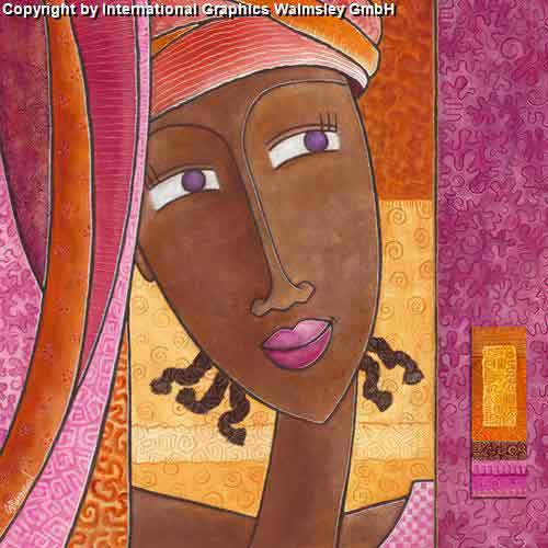 ציור מזרחי אורינטלי צבעים חמים דמויות  נשים אישה פנים עינים ורוד סגול