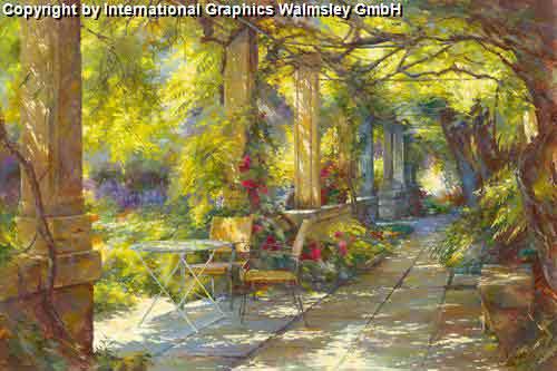 טיילת בפרובנסציור בית רומנטי שיחים ירוקים פריחה גן ספסל כסאות