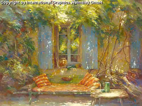 הזמנה לסייסטהציור בית רומנטי שיחים ירוקים פריחה גן ספסל כסאות חלון כחול גינה