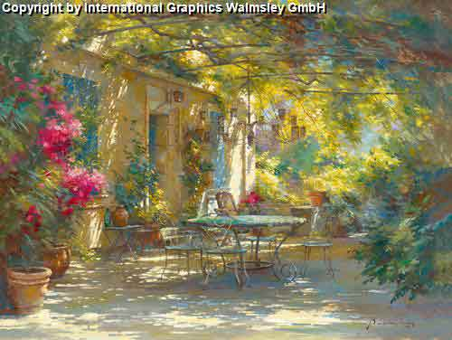 גינה ורוגעציור בית רומנטי שיחים ירוקים פריחה גן ספסל שולחן כסאות חלון כחול גינה