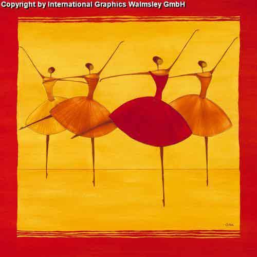 רקדניותאדום כתום אתני חם מחול הופעה ריקוד בלט דמויות דמות רקדנית קלאסי קלסית