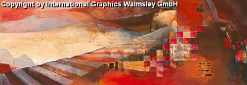 נוף מפסי הרכבתחום חם כתום נוף אופק בתים מזרחי ציור אבסטרקט עיצוב אדום
