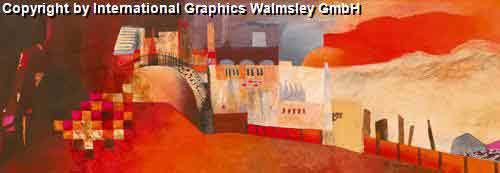 נוף עירוניחום חם כתום נוף אופק בתים מזרחי ציור אבסטרקט עיצוב אדום