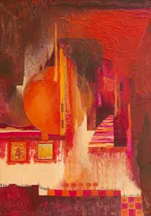 חום נוף אופק בתים מזרחי ציור אבסטרקט עיצוב אדום