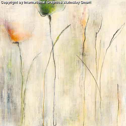 צמיחהאימפרסיוניסטי צבעי מים בהיר נוף ציורי גבעולים