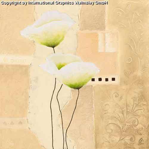 פרחים לבניםאימפרסיוניסטי צבעי מים בהיר נוף ציורי גבעולים