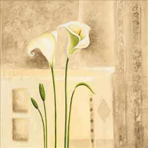 פרחים לבנים 2אימפרסיוניסטי צבעי מים בהיר נוף ציורי גבעולים זוג