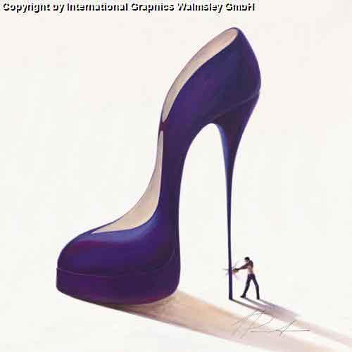 כובש בעבודהגברת נעל כחולה אישה זוג  רומנטיקה תשוקה דמויות דקורציה עיצוב