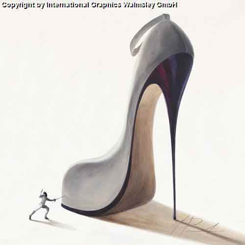 כובש עם אמביציהגברת אישה זוג  רומנטיקה תשוקה דמויות דקורציה עיצוב נעל כסופה