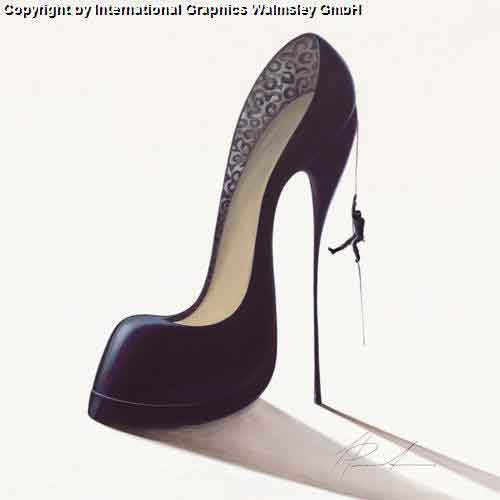כובש אתגריגברת אישה זוג  רומנטיקה תשוקה דמויות דקורציה עיצוב נעל שחורה