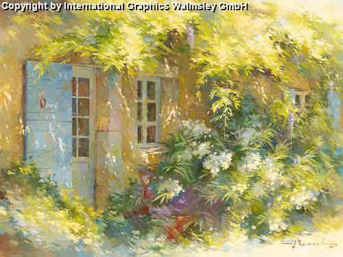בית פורחציור בית דלת כחולה שיחים ירוקים פריחה גן