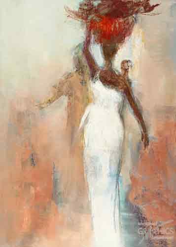 סילואטה אפריקניתאתני אישה סל עבודה שמלה לבנה