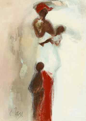 סילואטה אפריקנית 2אתני אמא תינוק יונק ילד משפחה שבט
