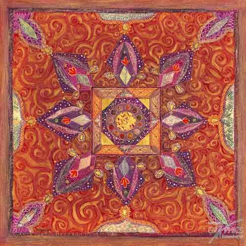 רקמה הודיתאתני טלאים צבעוני אסייתי הודי כתום קלידוסקופ