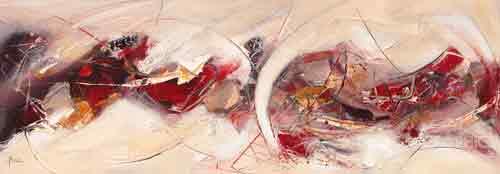 ויברציותאבסטרקט רוחב כתמים משיחות מכחול אדום כתום לבן