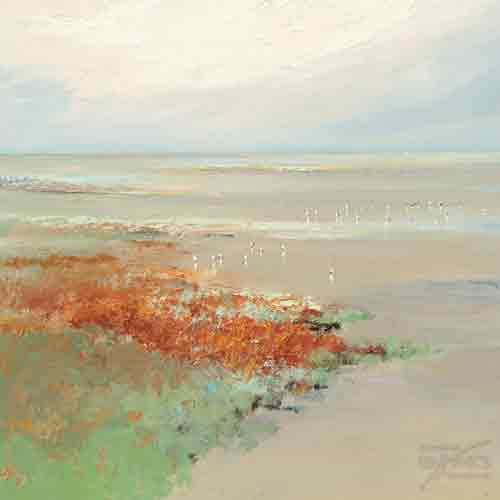 אבסטרקט שמים  שדה כתום תכלת כחול נחל נהר ים ציפור רגוע