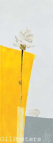 פרח על רקע צהוברומנטי עיצוב מודרני מינמליסטי
