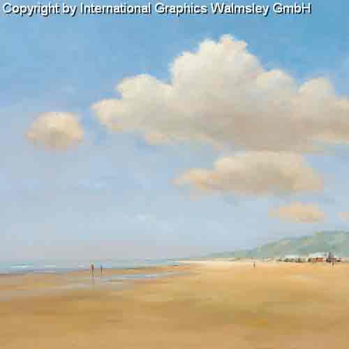 בחוף הים 1שפת ים פסטורלי יום שמש שמיים כחולים עננים צבעים בהירים