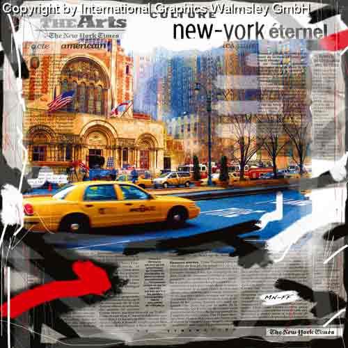 ניו יורק 1מונית צהוב שחור לבן מנהטן שחור לבן ארצות הברית קולאז' בנינים