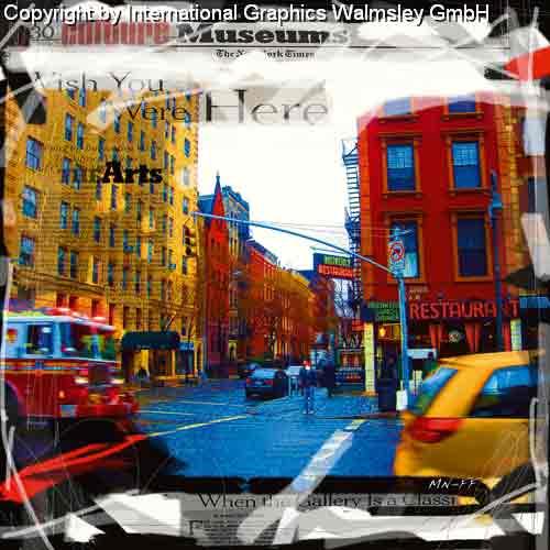 ניו יורק 2מונית צהוב שחור לבן מנהטן שחור לבן ארצות הברית קולאז' בנינים