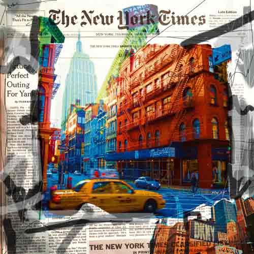 ניו יורק 4אבסטרקט עירוני קולאז' מונית צהובה מנהטן בינינים תנועה