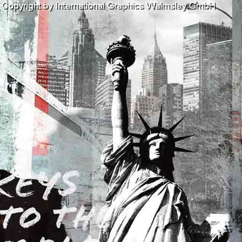 פסל החרותניו יורק מנהטן שחור לבן ארצות הברית קולאז' בנינים