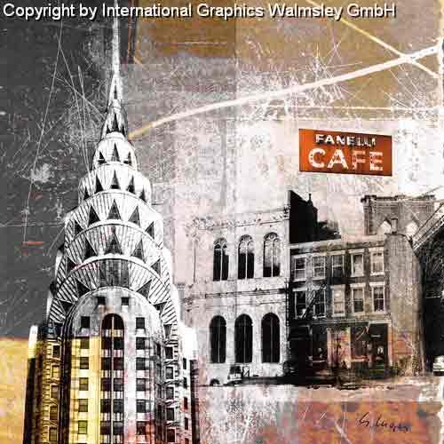 קפה פנליניו יורק מנהטן שחור לבן ארצות הברית קולאז' בנינים