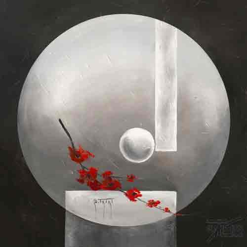 שפת הפרחיםאדום אפור פרח דקורטיבי זר עיצוב הבית מטבח סלון אבסטרקט
