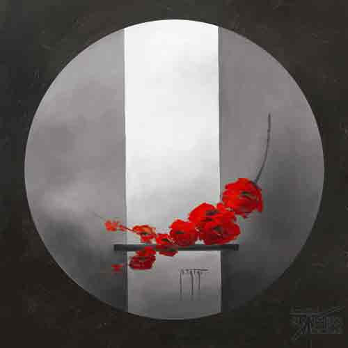 עיצוב פרחיםאדום אפור פרח דקורטיבי זר עיצוב הבית מטבח סלון אבסטרקט פרחוני