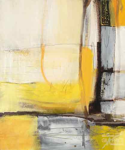אבסטרקט צהוב לבן שחור צורות כתמים